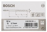 Bosch Wiertła do metalu HSS-R, DIN 338 2,7 x 33 x 61 mm 2608596563